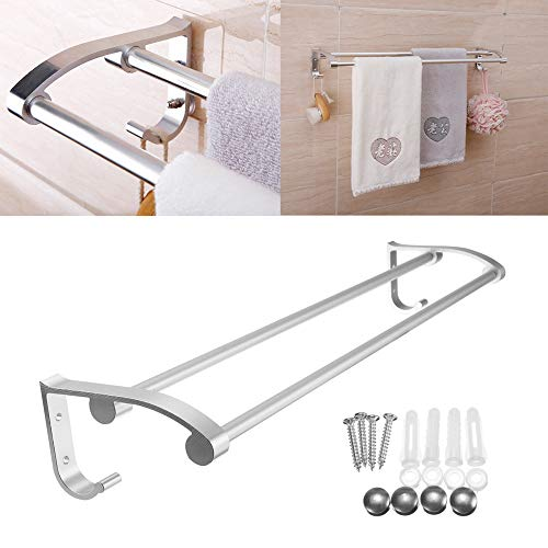 Niya Soft Double Bathroom Towel Rail Rack Shelf Wall Mounted Hook Dual Row Elegant Smooth -