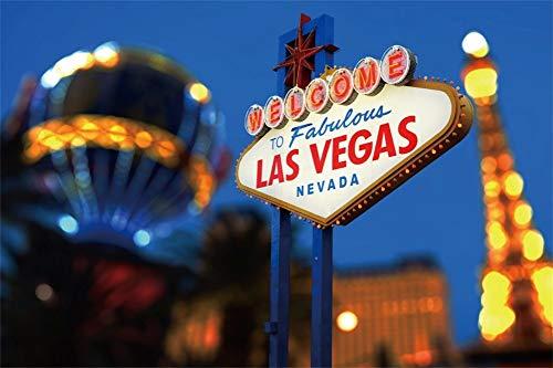 Cassisy 3x2m Vinyl Las Vegas Fotohintergrund WILLKOMMEN bei Fabulous LAS Vegas Nevada Zeichen Innenstadt Fotoleinwand Hintergrund für Fotostudio Requisiten Party Photo Booth