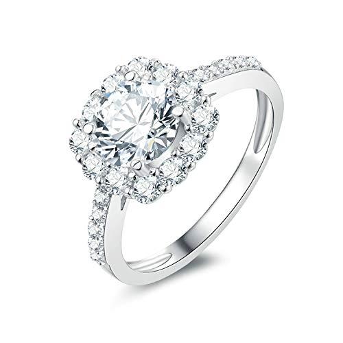 Amody Größe Sterling Silber Ring für Frauen Big White Zirkonia und Small Zirkonia Ehering Ring Größe 65 (20.7) (Peridot-ring Baby-sterling Silber)