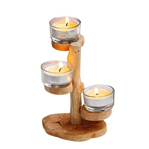 Z3Z Moderne Holz Leuchter Zweigform Glas Kerzenhalter Handgefertigt Geeignet Für Zu Hause,A