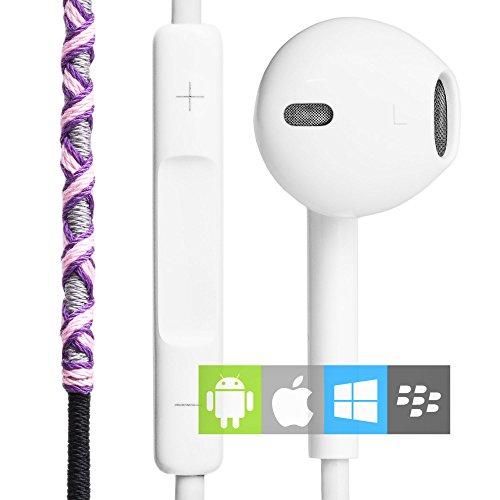 Auriculares in-ear con Cable y Micrófono Estéreo 3.5mm (control remoto integrado) | Cascos deportivos con manos libres y control de volumen rosas | Auriculares en la oreja para el móvil, manos libres
