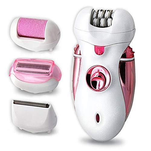 Leenp 4 in 1 elettrico epilatore utensili per la cura dei piedi per donna depilatore corpo rasoio sistema di protezione della pelle esfoliazione e cura della pelle beauty pulizia,pink
