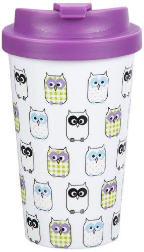 Geda Labels 12571 Cooffe to go - Taza de café para llevar (doble pared, plástico, 400 ml, 15,5 cm), diseño de búhos