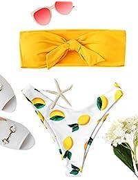 SOLY HUX Bikini Palabra de Honor,Braguitas de Bikini con Estampado de Limón+2