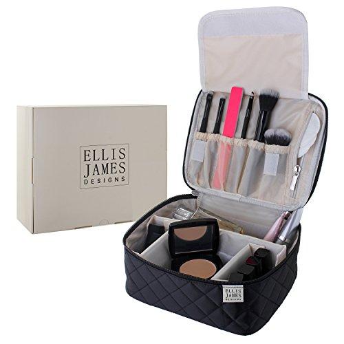 Trousse de toilette - 2-en-1 trousse cosmétique pour maquillage et vernis - Trousse de voyage avec compartiments, porte-balais pour les brosses & pochettes zippées - en noir - d'Ellis James Designs