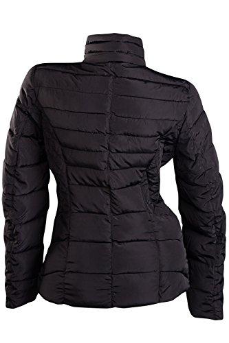 Veste d'hiver courte matelassée avec capuche Veste de ski pour femme S M L XL XXL Noir - Noir