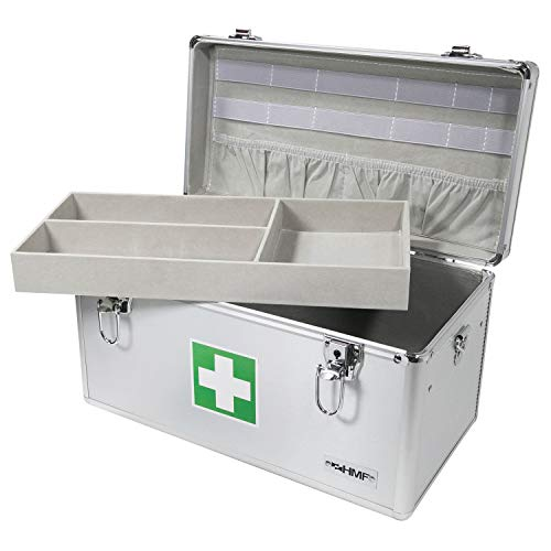 41SFZSjSUsL - HMF 14701-09 Botiquín de Primeros Auxilios, Depósito de Medicamentos, asa de Transporte, Aluminio, 40 x 22,5 x 20,5 cm