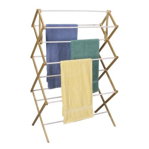 Haushalt Essentials Klappbarer Wäscheständer, Holz Rahmen mit Vinyl Dübeln