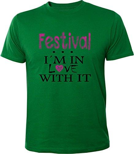 Mister Merchandise Herren Men T-Shirt Festival - I´m in love Tee Shirt bedruckt Grün