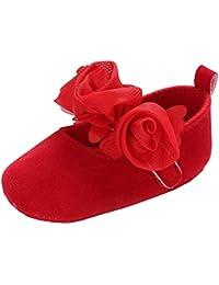 Allskid Recién Nacido Zapatos de bebé Niñas pequeñas Suela Blanda Las Flores Decoración Velcro ...
