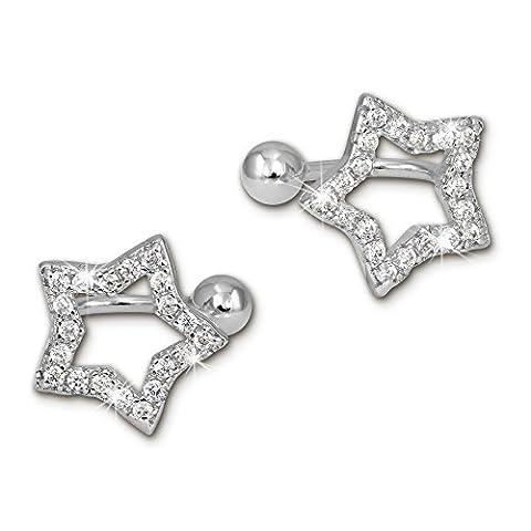SilberDream Manchette d'oreille Etoile Zircons Ear Cuff Boucles d'oreilles en