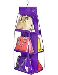 PIXNOR Plegable armario organizador del armario colgante sistema de bolsa de almacenamiento para el bolso (púrpura)
