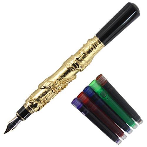 Gullor chino Dragón Antiguo Plata Basso de Relievo pluma estilográfica Original Muelle de bolsas de regalo caja de tinta Set, color Golden