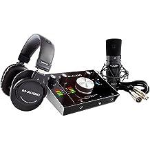 M-Audio M-Track 2x2 Vocal Studio PRO - Pack de grabación y producción con interfaz de audio profesional, micrófono de condensador, cable XLR, auriculares y paquete de software