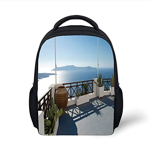 Kids School Backpack Travel Decor,Sunny Summer Terrace Balcony Patio with Mountain Island Scenery,Blue White and Green Plain Bookbag Travel Daypack