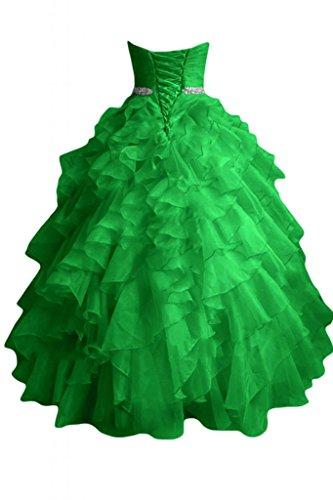 Sunvary Robe de Soiree Robe de Bal Robe de Party Princesse Organza Volants a cascades Vert