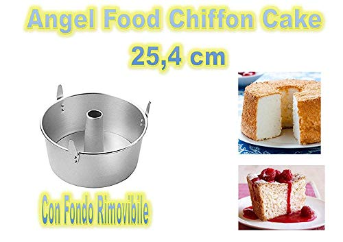 Forma Angel Food,Chiffon Cake in Alluminio Argento, Diametro 25,4 cm - Cdc