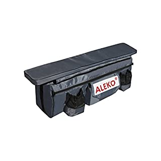 ALEKO BSB320BK 34X9 Inch Seat Cushion With Spacious Under Seat Bag with Pockets For Inflatable Boats, Dark Gray