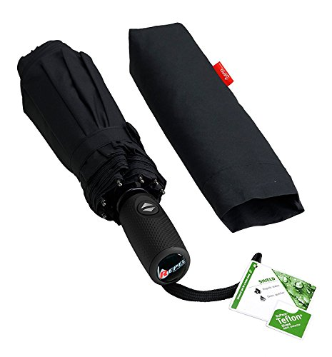 """Compact """"Dupont Teflon"""" Fast Drying Travel Umbrella, Reinforced Windproof Frame, Lifetime Replacement Guarantee, Auto Open/Close, Slip-Proof Handle for Easy Carry"""