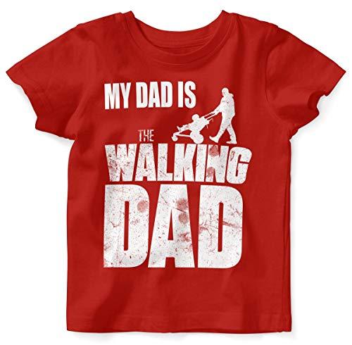 Mikalino Baby/Kinder T-Shirt mit Spruch für Jungen Mädchen Unisex Kurzarm My Dad is The Walking Dad | handbedruckt in Deutschland | Handmade with Love, Farbe:rot, ()