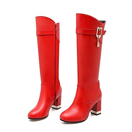 AllhqFashion Damen Rein Blockabsatz Rund Zehe Pu Leder Reißverschluss Stiefel mit Anhänger Rot