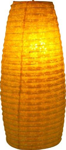 Guru-Shop Kleiner Ovaler Lokta Papierlampenschirm, Hängelampe Corona, Gelb, Lokta-Papier, Farbe: Gelb, 42x22x22 cm, Papierlampenschirme Oval