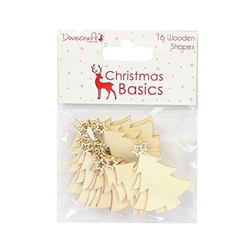 Dovecraft Christmas Basics Kit di decorazioni a forma di Alberi di Natale, in legno multicolore