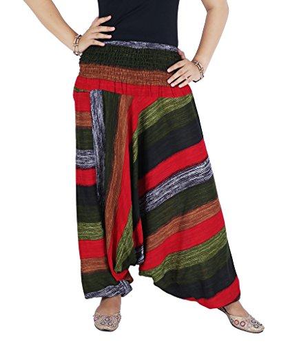 AuthenticAsia-Arcobaleno Collezione Super morbido, 2in 1Pantaloni harem e tuta Red Taglia unica - Collezione Tribal