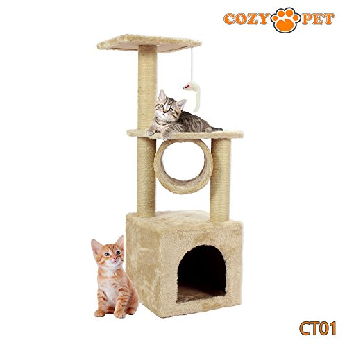 Cozy Pet Cat Trees supplied by The Rabbit Hutch Co, Deluxe Multi Level Cat Scratcher with High Quality Heavy Duty Sisal, Cat Activity Centre Scratching Post Toys, Cat Tree, Model CT01-Beige. (Sorry we do not ship to Northern Ireland, Scottish Highlands &