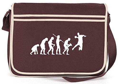 Shirtstreet24, Evoluzione Pallamano, Borsa A Tracolla Messenger Bag Em / Wm Retro Messenger Marrone