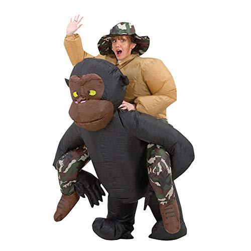 Kostüm Reiten Ein Gorilla - MSQL Halloween Aufblasbares Kostüm, Ride on Gorilla Kostüm Aufblasbarer Affen Anzug, Halloween Karneval Party Cosplay Anzug, Uneingeschränkte Bewegungsfreiheit