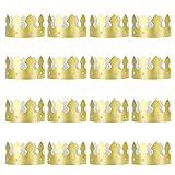 QIMEI-SHOP Corona di Carta 16 Pezzi Cappelli di Carta Corona per Festa di Compleanno Carnevale Puntelli Foto D'Oro