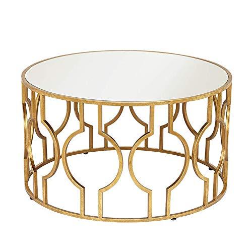 Zhilong tavolino rotondo in vetro temperato tavolino moderno da salotto in ferro art 56 * 50cm