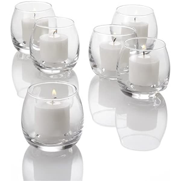 Set Of 12 Petite Hurricane Votive Candle Holders Clear Glass Amazon Co Uk Kitchen Home