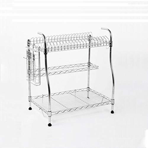 TJZ Home Kitchen Metallregale 3-Schicht-Geschirrkörbe Moderne Einfachheit Ablaufgitter Spülmaschinenständer Geschirrständer 30X54X51,5 cm Regal