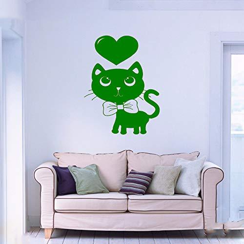 Vinyl Wandtattoo Nette Katze Haustiere Herz Tier Cartoon Kinderzimmer Home Interior Art Dekoration Aufkleber F 5 42x66 cm -