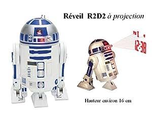 Réveil Star wars - R2-D2 - parle, avance, tête pivotante, projection de l'heure au plafond. - Livraison gratuite*