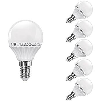 LE Lot de 5 Ampoules LED 4W P45 E14, équivalent ampoule incandescente 35W, 300lm, 2700K blanc chaud