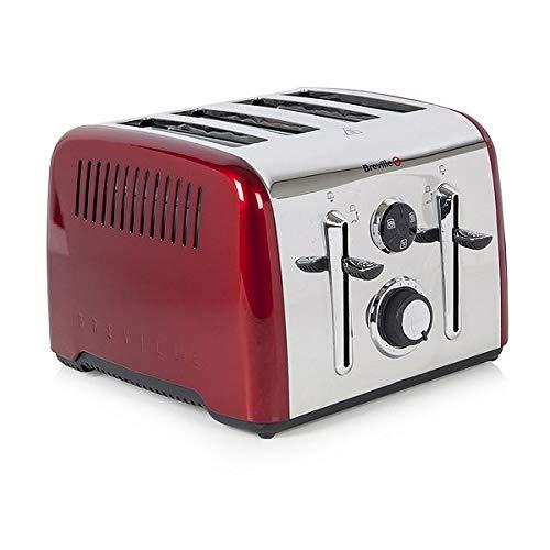 Breville VTT724 1650W Aurora 4 Slice/Peice Wide Slot High Lift Toaster Red