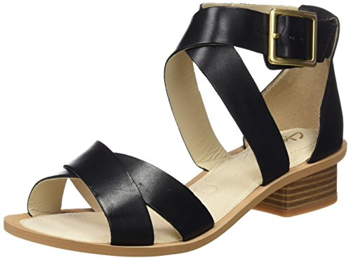 Clarks Sandcastle Ray, Sandali con Zeppa Donna, Nero (Black Leather), 38 EU