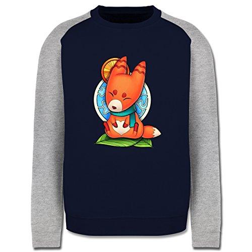 Eulen, Füchse & Co. - Süßer Fuchs - Kitsune - Herren Baseball Pullover Navy
