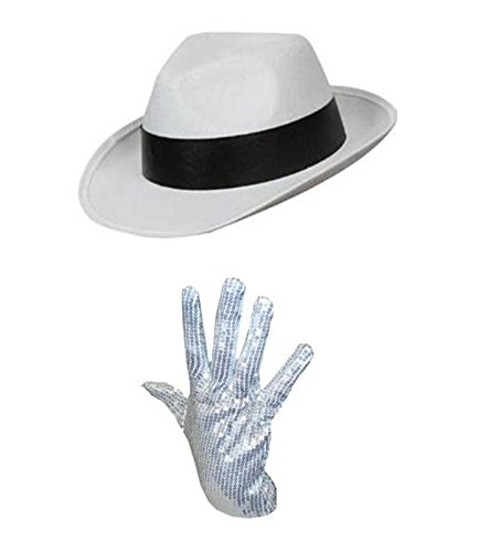 Michael Jackson Hat and Sequin Glove Set Fancy Dress Pop Icon (White with Black Band) (Pop Band Kostüm)