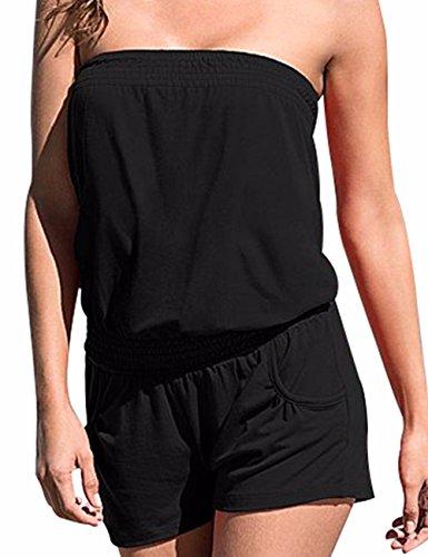 Emma Damen Strapless tr?gelos weg von der Schulter kurzer Overall Sexy Sommer Strand mit Druck Jumpsuits Rompers(BL1,S)