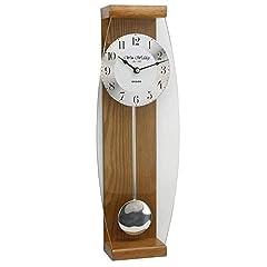 Idea Regalo - Hometime - Orologio da muro a pendolo con finiture in rovere, 46 cm