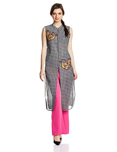 IndusDiva by Neeta Lulla Kurta with Palazzo Pants (MUM0770008_Black and White_Small)