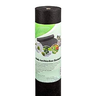 Malla geotextil antihierbas de 1m x 50m 50 gr/m2, para jardín exterior, huerto, camping o invernadero   Tela de polipropileno resistente para control y ocultación de hierbas   Vellón antimaleza