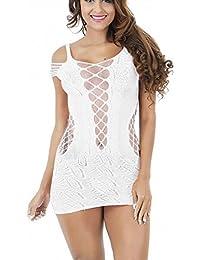 YWLINK Femmes Body Justaucorps Une Pièce Combinaison en Couleur Pure  Dentelles Ciselé Transparent en Maille sous-vêtement… 050488782cc