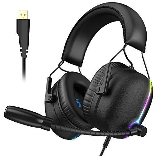 ZDZHU Gaming Headset, RGB Gaming Kopfhörer mit ENC Dual Noise Canceling Mikrofon, E-Sports Vibration PS4 Headset mit 6 akustischen Einheiten für PS4/PC/Desktop Computer/Laptop