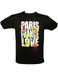Souvenirs de France - T-Shirt Homme Paris France Love - Couleur : Noir