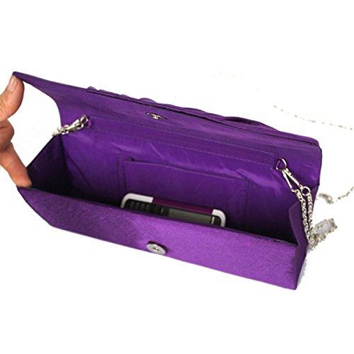 Damen Abendtasche Hochzeit Handtaschen-Kupplungs-Geldbeutel-Handtasche Purple
